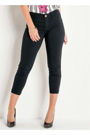 Sawary Jeans Mulher Calça de Alfataria - Calça Cropped Preta com Barra Dobrada Sawary