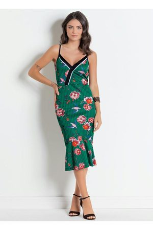 QUEIMA ESTOQUE Vestido Tubinho Midi de Alças Listras e Floral