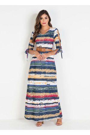 ROSALIE Mulher Vestido Estampado - Vestido Longo Forrado Estampado Moda Evangélica