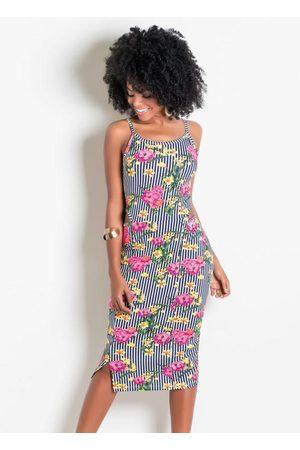 QUEIMA ESTOQUE Mulher Vestido Estampado - Vestido com Recortes Vazados na Cintura Floral