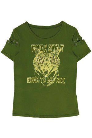 Cativa Kids Menina Camiseta - T-Shirt com Manga Curta Diferenciada