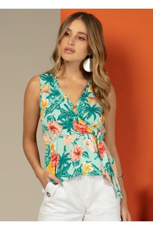 QUINTESS Blusa com Babado no Decote Floral