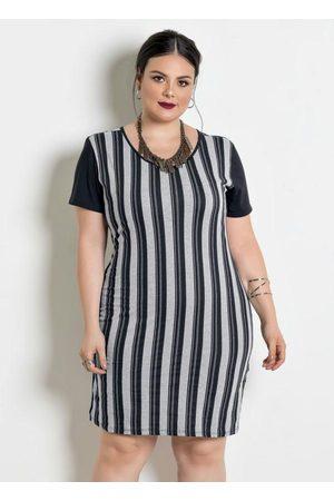 Marguerite Mulher Vestidos - Vestido com Contrastes Plus Size Listrada/Preta