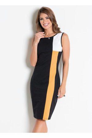 ROSALIE Vestido Tubinho /Amarelo Moda Evangélica