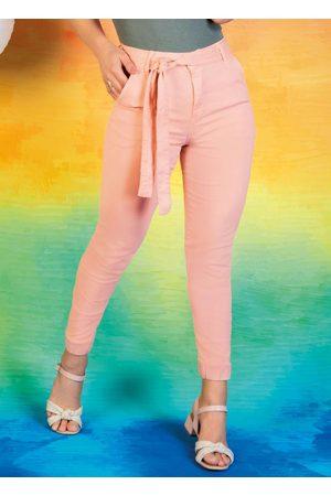 Sawary Jeans Mulher Calça de Alfataria - Calça Rosê Jogger Cropped com Faixa Sawary