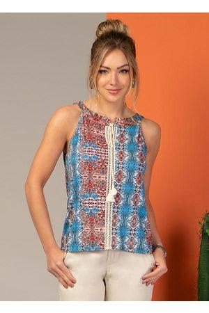 QUINTESS Mulher Blusa - Blusa com Cordel e Recorte Frontal Étnico