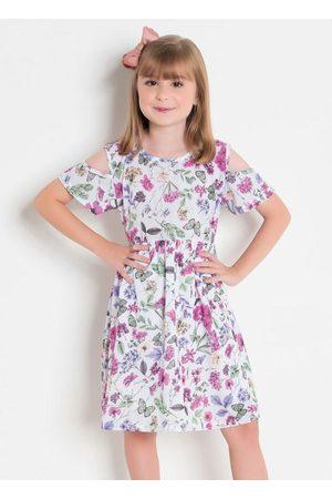 QUEIMA ESTOQUE Menina Vestido Estampado - Vestido Infantil Floral com Abertura no Ombro