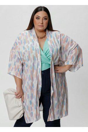 Mink Kimono Amplo Abstrato Colorido com Fendas
