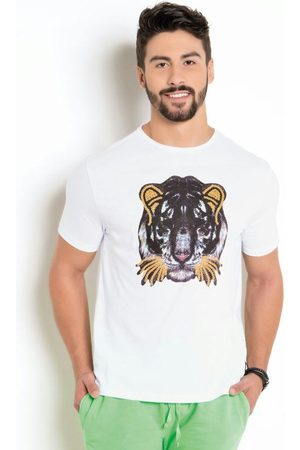 Actual Homem Manga Curta - Camiseta BrancaCom Estampa Tigre