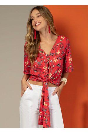 QUINTESS Mulher Blusa - Blusa com Amarração na Barra Floral
