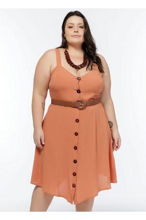 Mink Vestido de Alça Plus Size Ferrugem com Botões