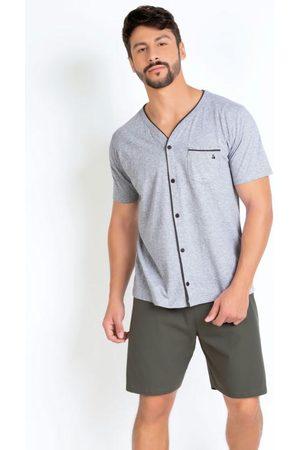 Actual Homem Pijamas - Pijama com Abertura em Botão Mescla e Verde