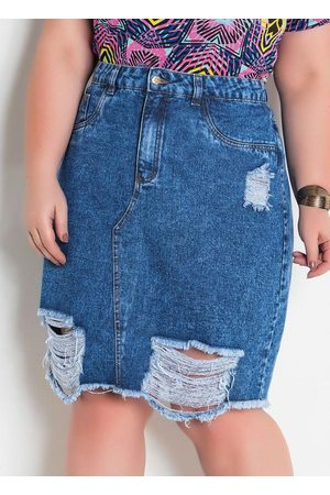 Marguerite Mulher Minissaia - Saia Jeans Destroyed Plus Size