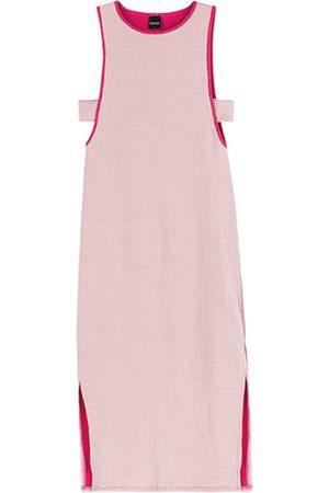 ENFIM Vestido Pink Mídi Canelado Listrado