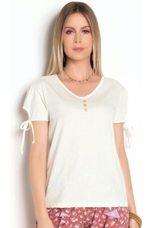 QUEIMA ESTOQUE Mulher Camiseta - Blusa com Manga Bufante e Detalhe de Botões