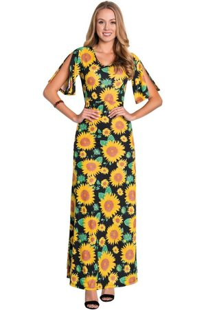 ROSALIE Vestido Longo Estampa Girassol Moda Evangélica