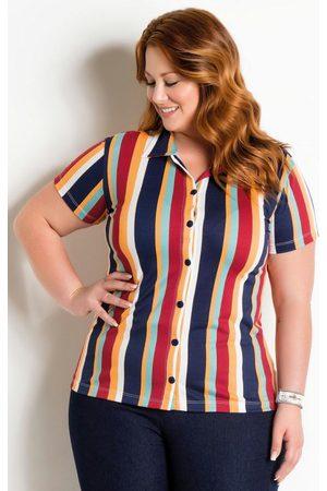 Marguerite Mulher Camisa Manga Curta - Camisa com Botões Plus Size Listrada