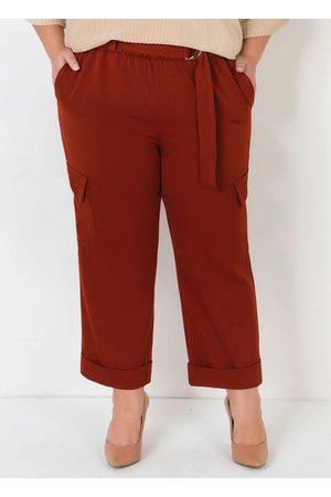 Mink Mulher Calça Cintura Alta - Calça Plus Size com Cinto