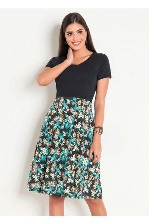 ROSALIE Vestido Estampa Tropical Moda Evangélica