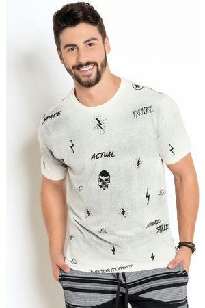 Actual Homem Manga Curta - Camiseta Lavação do Avesso e Estampa