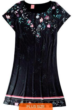 Wee Malwee Vestido Preta Curto Floral em Liganete
