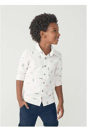 Hering Menino Camisa Manga Comprida - Camisa Manga Longa Menino em Tecido de Algodão Off