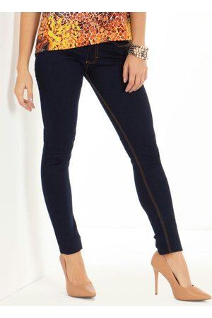 QUINTESS Mulher Calça Skinny - Calça Jeans Escuro Skinny com Bolsos
