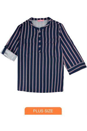 Wee Malwee Mulher Camisa Casual - Camisa Marinho em Crepe Listrada com Zíper