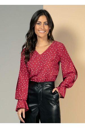QUINTESS Blusa Poá Vermelha com Recorte Vazado
