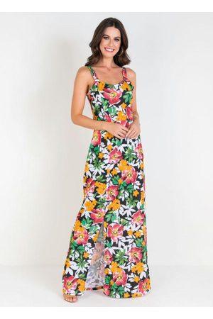 QUEIMA ESTOQUE Vestido Longo Floral com Fenda Lateral