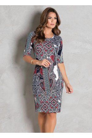 ROSALIE Vestido Arabescos Tubinho Moda Evangélica