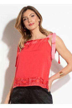 QUEIMA ESTOQUE Mulher Blusa - Blusa com Tiras Vermelha Quintess