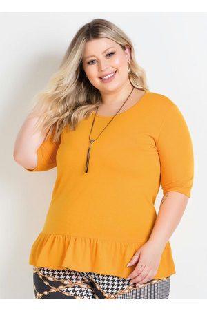 Marguerite Mulher Blusa - Blusa Amarela com Babado na Barra Plus Size