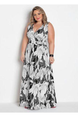 Marguerite Mulher Vestido Longo - Vestido Longo Transpassado Plus Size Folhagem