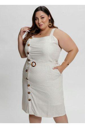 Mink Vestido Midi Linho Plus Size com Botões e Fivela