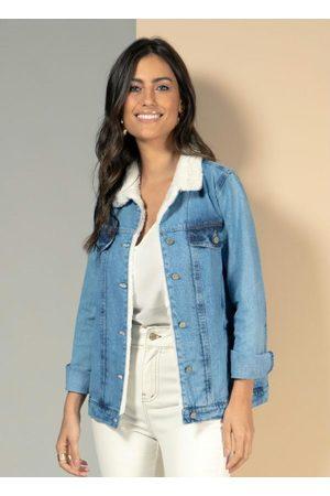 QUINTESS Mulher Jaqueta Jeans - Jaqueta Jeans com Bolsos e Abertura em Botões