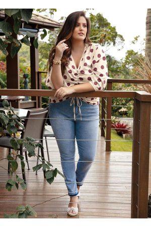 Mink Mulher Blusa - Blusa Plus Size com Estampa Poá e Franzido