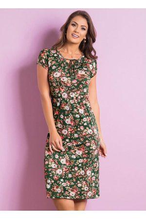 ROSALIE Vestido com Amarração Floral Moda Evangélica