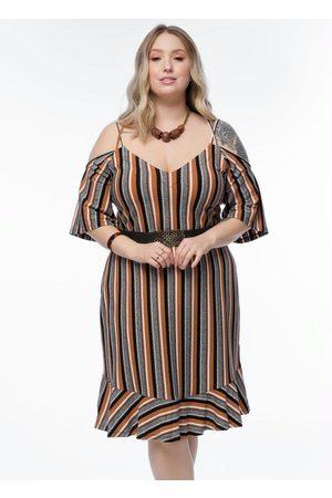 Mink Vestido Plus Size Listrado Alças Ombro