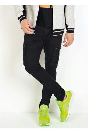 Actual Homem Calças Cargo - Calça Preta Skinny com Bolsos Cargo