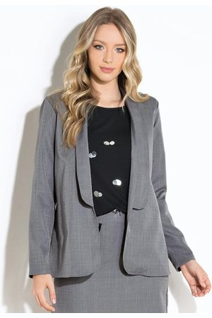 QUINTESS Mulher Blazer - Blazer Alongado Xadrez com Detalhe Contrastante