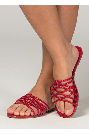 QUINTESS Mulher Sandálias - Rasteira Vermelha com Tiras Cruzadas