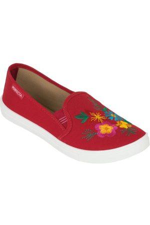 QUEIMA ESTOQUE Tênis Vermelha com Bordado Floral