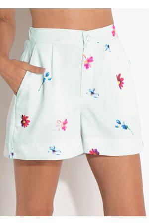 QUINTESS Mulher Short - Short Floral com Cintura Média