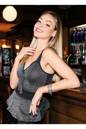 QUINTESS Mulher Regata - Blusa de Alças Preta e Brilhante