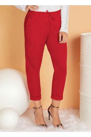 QUEIMA ESTOQUE Mulher Calça Flare - Calça Cropped Vermelha com Bolso Funcional