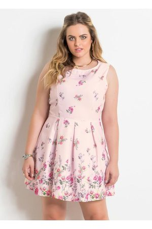 QUINTESS Mulher Vestido Estampado - Vestido sem Mangas Floral Plus Size