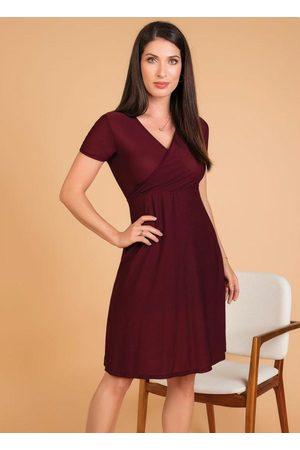 ROSALIE Mulher Vestido Médio - Vestido em Malha Crepe Moda Evangélica Bordô