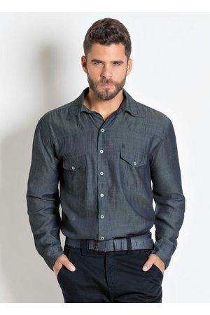 Actual Camisa Jeans Grafite com Manga Longa e Bolsos