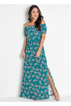 QUEIMA ESTOQUE Vestido Longo Floral Modelo Ciganinha